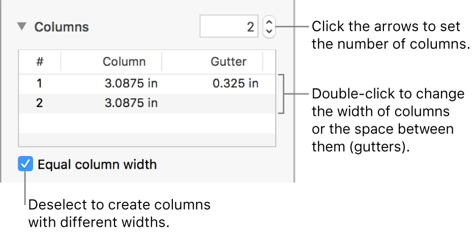 Controls in the columns section for changing the number of columns and the width of each column.