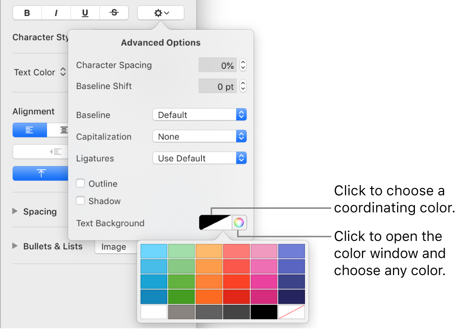 Controls for choosing a background color for text.