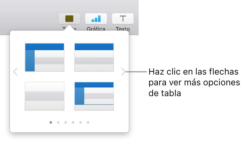 """Panel """"Añadir tabla"""" con flechas de navegación a la izquierda y a la derecha."""