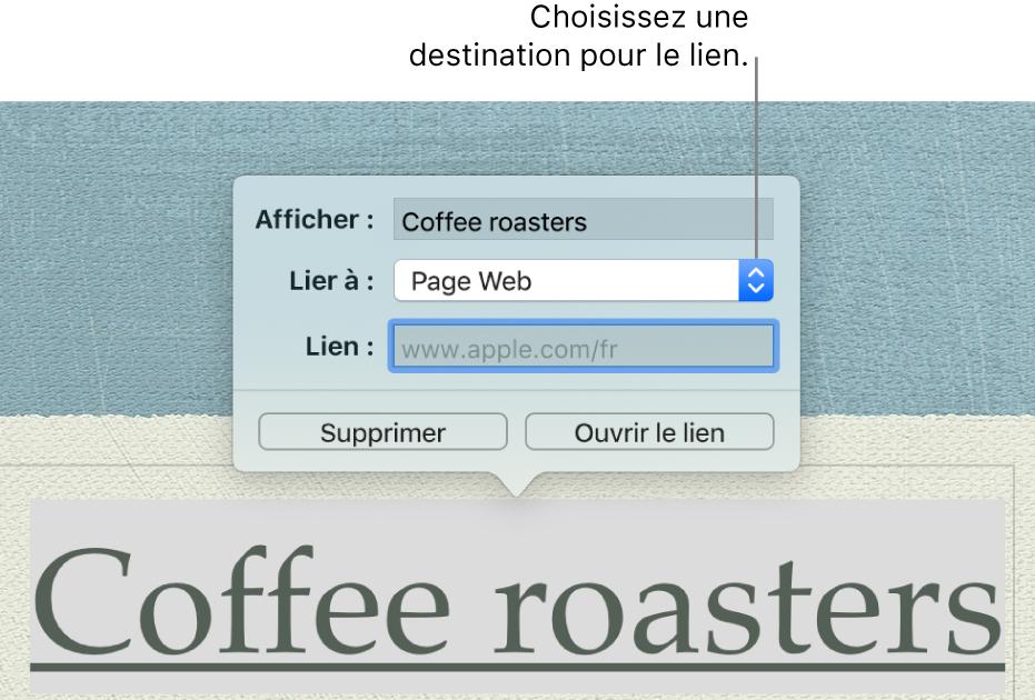L'éditeur de liens avec le champ Afficher, le menu local «Lien vers» («Page web» est sélectionné) et le champ Lien. Les boutons Supprimer et «Ouvrir le lien» se trouvent au bas de la fenêtre surgissante.