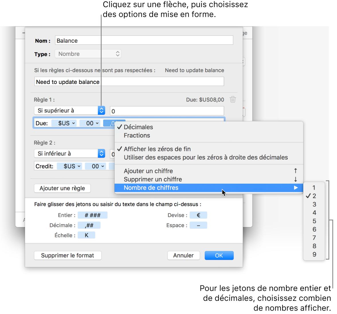 Fenêtre de format de cellule personnalisé présentant les commandes permettant de créer un format numérique personnalisé.