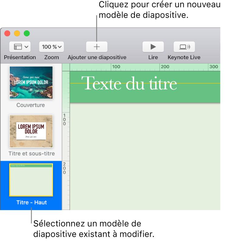 Un modèle de diapositive sur le canevas de diapositive, avec le bouton d'ajout de diapositive au-dessus dans la barre d'outils.