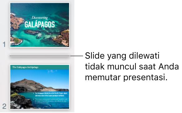 Navigator slide dengan slide yang dilewati ditunjukkan sebagai garis horizontal.