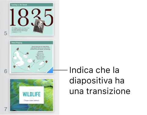 Un triangolo blu su una diapositiva indica che la diapositiva dispone di una transizione.