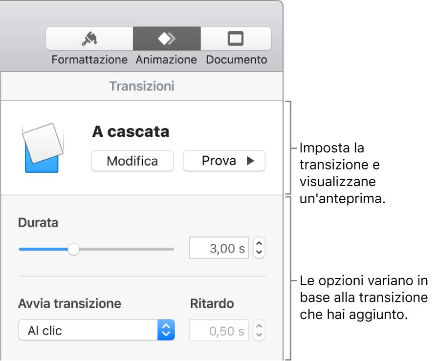 Controlli di transizione nella sezione Transizioni della barra laterale.