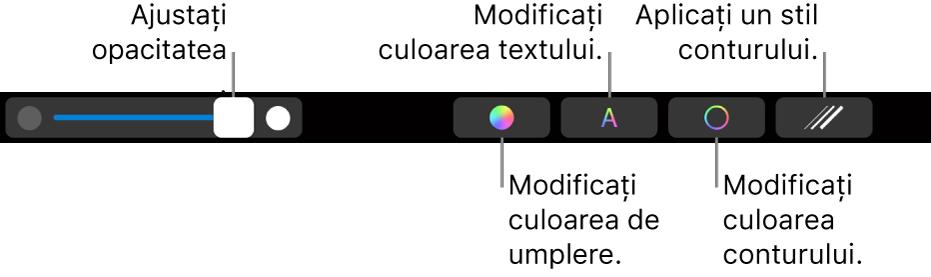 Bara Touch Bar din MacBook Pro, cu comenzi pentru schimbarea opacității unei forme, a umplerii cu culoare, a culorii textului, a culorii conturului și a stilului de contur.