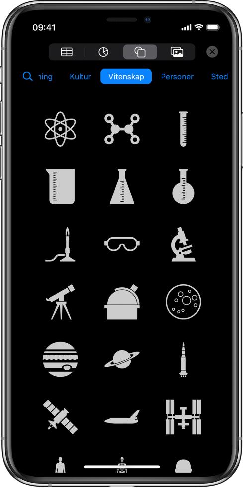 Sett inn-menyen med knapper langs toppen for å legge til tabeller, diagrammer, figurer og medier. Figurer er markert, og menyen viser en rad med kategorier med en Søk-knapp til venstre. Kategorien Aktiviteter er valgt, og det vises figurer nedenfor.