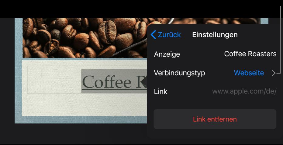 """Das Popover """"Linkeinstellungen"""" mit Feldern für """"Anzeigen"""", """"Ziel"""" (auf Webseite eingestellt"""") und """"Link"""". Unten befindet sich die Taste """"Link entfernen""""."""