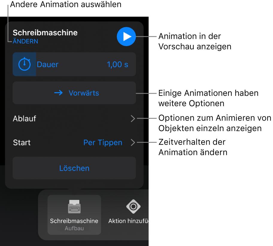 """Animationsoptionen wie """"Dauer"""", """"Ablauf"""" und """"Start"""". Tippe auf """"Ändern"""", um eine andere Animation zu wählen, oder tippe auf """"Vorschau"""", um eine Vorschau der Animation anzuzeigen."""