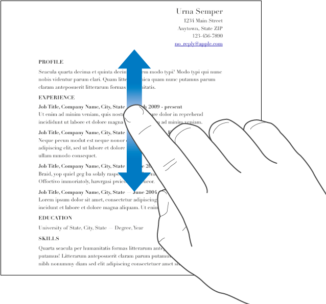 A finger swiping up and down in a document.