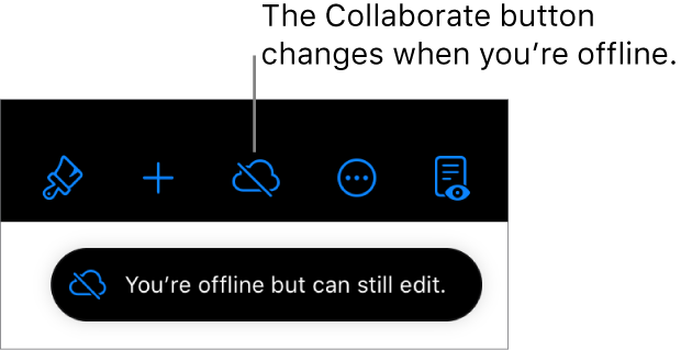 "The buttons at the top of the screen, with the Collaborate button changed to a cloud with a diagonal line through it. An alert on the screen says ""You're offline but can still edit."""