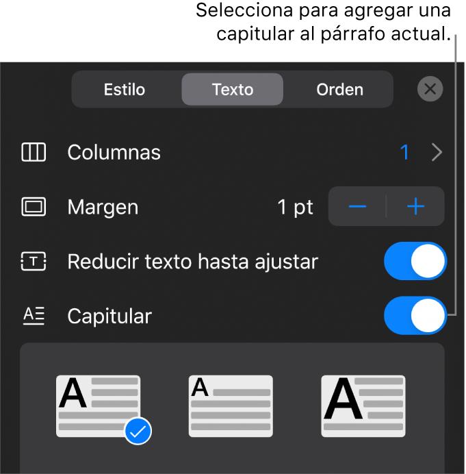 """Controles """"Letra capitular"""" ubicados al final del menú Texto."""