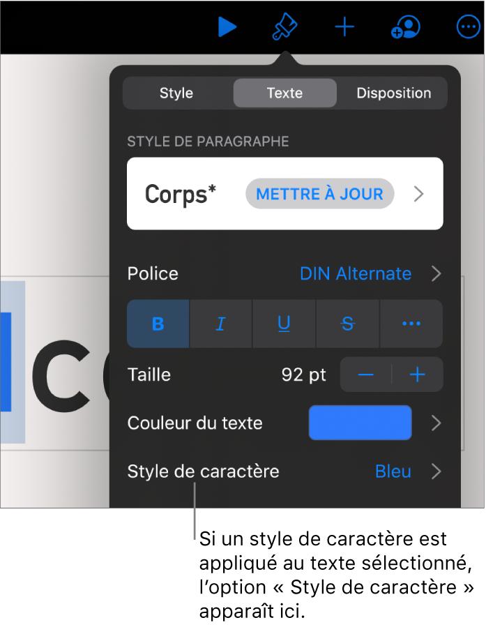 Commandes de mise en forme de texte avec Style de caractère au-dessous des commandes de couleur. Le style de caractère Aucun s'affiche avec un astérisque.