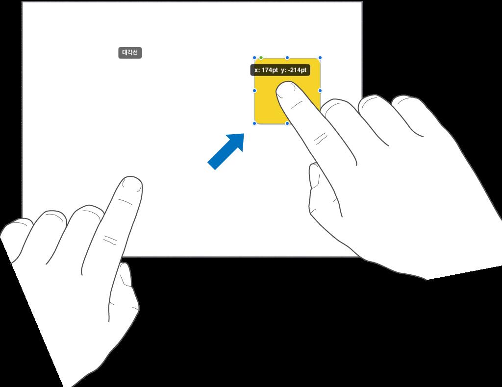 オブジェクトを選択している1本の指と、画面上部に向かってスワイプしているもう1本の指。