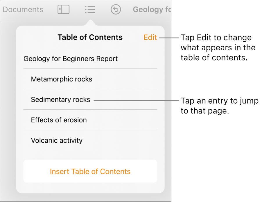 The table of contents view with entries in a list. The Edit button is at the top-right corner of the pop-over.