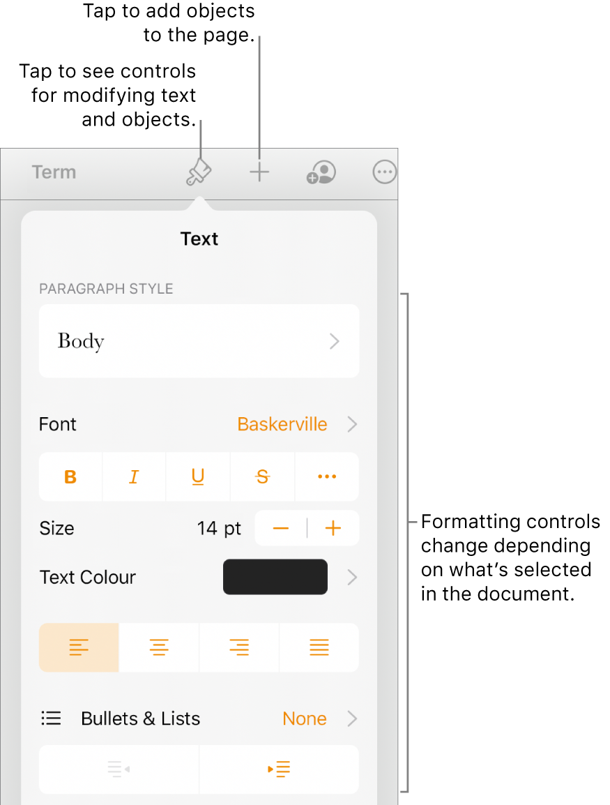 The Format controls are open and showing controls to change paragraph style, modify fonts and format font spacing. Callouts at the top point out the Format button in the toolbar and to its right, the Insert button to add objects to the page.