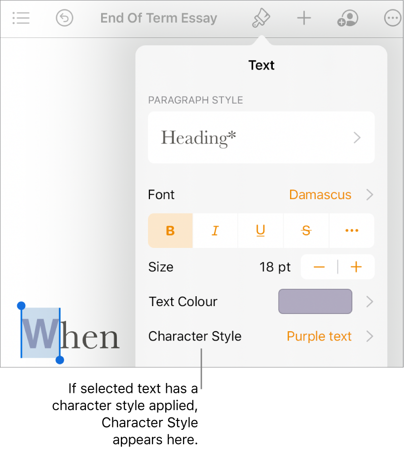 The Text formatting controls with Character Style below the Text Colour controls.