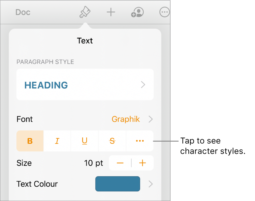 The Format controls with paragraph styles at the top, then Font controls. Below Font are the Bold, Italic, Underline, Strikethrough and More Text Options buttons.