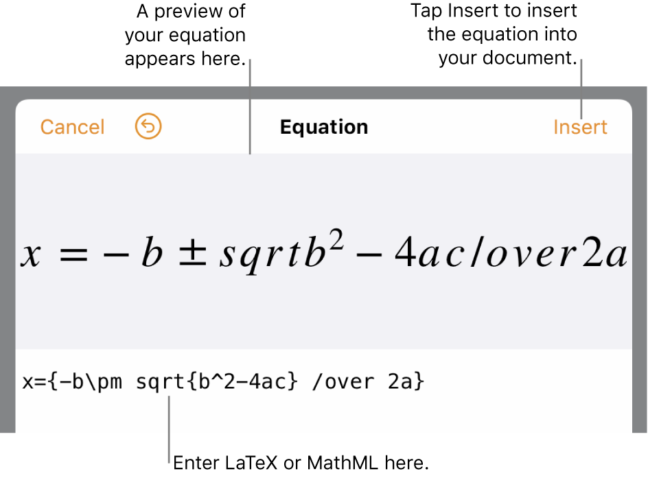 The equation editing dialogue, showing the quadratic formula written using LaTeX commands, and a preview of the formula above it.