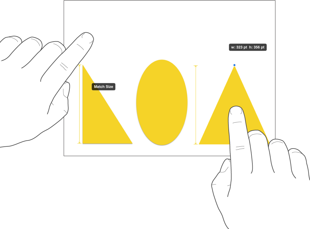 One finger just above a shape and another holding an object with Match Size on the screen.