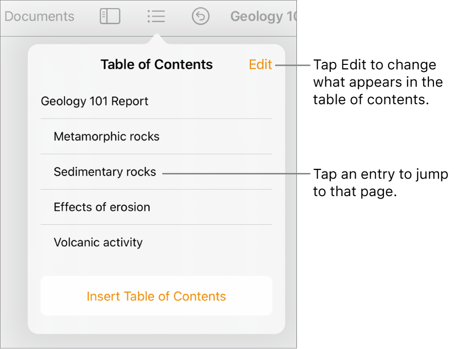The table of contents view with entries in a list. The Edit button is at the top-right corner of the popover.