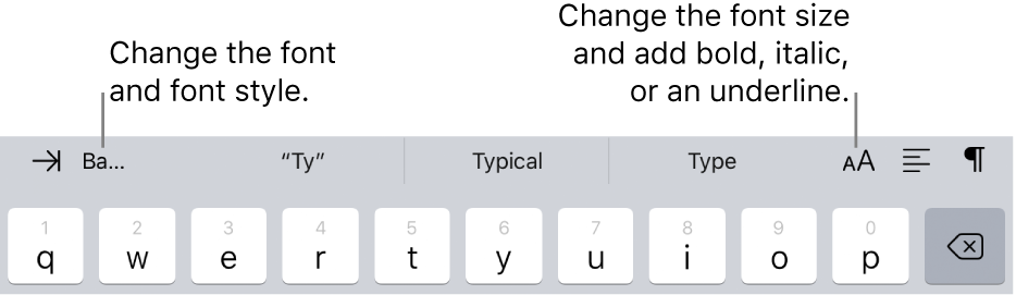The text formatting buttons above the keyboard, starting on the left with indent, font, three predictive text fields, font size, alignment, and insert.