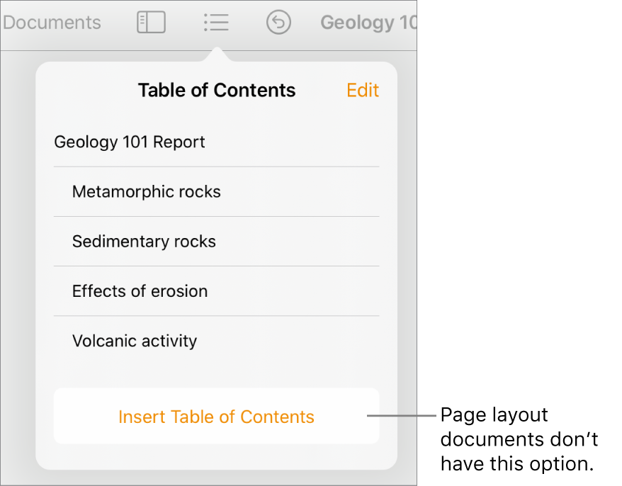 The table of contents view with Edit in the top-right corner, TOC entries, and the Insert Table of Contents button at the bottom.