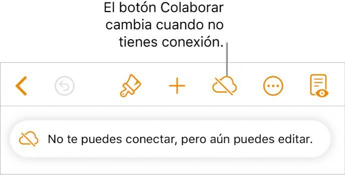 """Los botones de la parte superior de la pantalla, con el botón Colaborar que cambia a una nube con una línea diagonal cruzándola. Una alerta en la pantalla dice """"No tienes conexión pero aún puedes hacer cambios""""."""