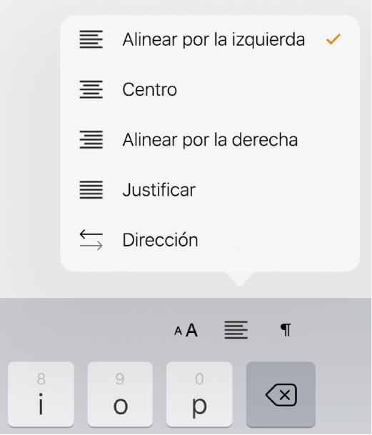 La barra de formato con controles para sangrar texto y alinear párrafos.