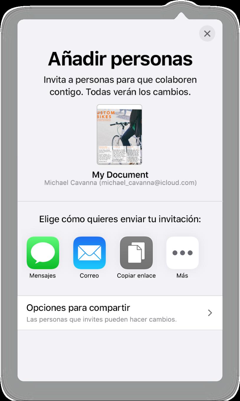 """La pantalla """"Añadir personas"""" mostrando una imagen del documento que se va a compartir. Debajo aparecen botones de las maneras de enviar la invitación, incluido Mail, un botón """"Copiar enlace"""" y otros. En la parte inferior está el botón """"Opciones para compartir""""."""