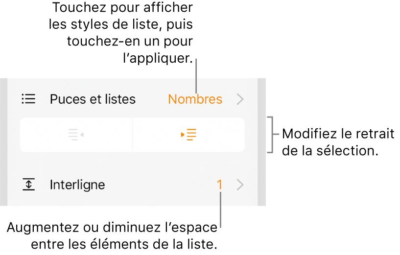 La section «Puces et listes» des commandes Format avec des légendes pour «Puces et listes», les boutons d'indentation et de suppression d'indentation et les commandes d'espacement entre les lignes.