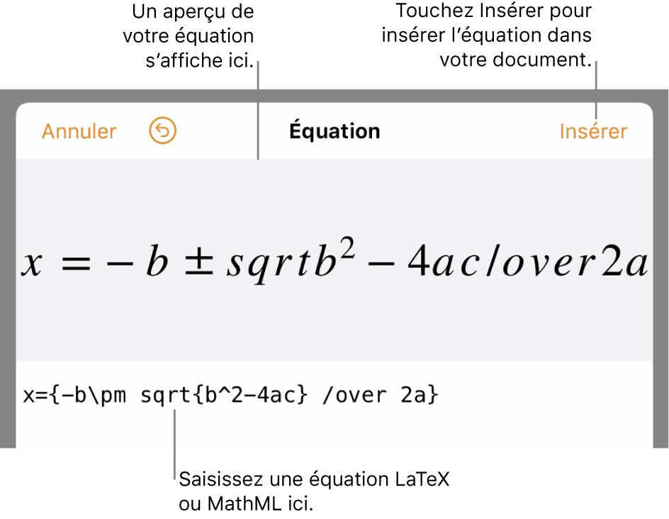 Zone de dialogue de modification d'équation, affichant la formule quadratique composée à l'aide des commandes LaTeX et aperçu de la formule au-dessus.