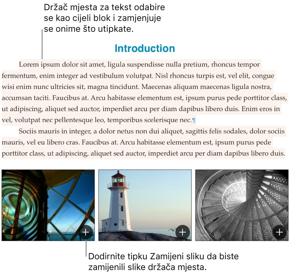 Tekst i slike držača mjesta.