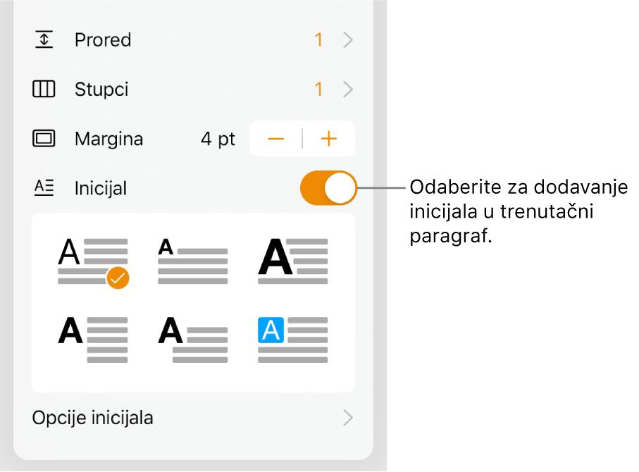 Kontrole opcija Inicijal koje se nalaze na dnu izbornika Tekst.