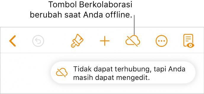 """Tombol di bagian atas layar, dengan tombol Kolaborasikan berubah ke awan dengan garis diagonal melaluinya. Peringatan di layar bertuliskan """"Anda offline tapi masih dapat mengedit""""."""