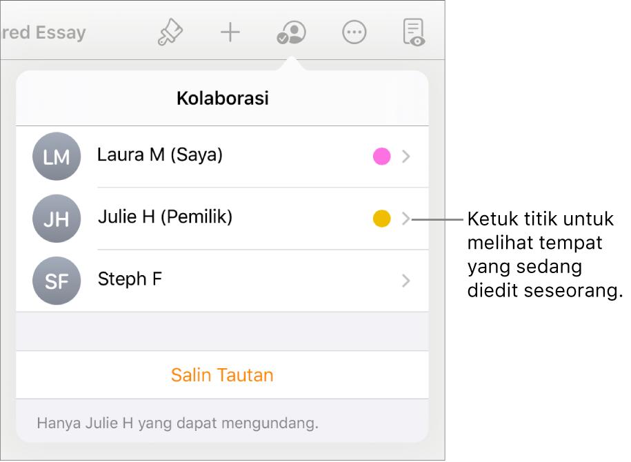 Daftar peserta dengan tiga peserta dan titik berwarna berbeda di sebelah kiri setiap nama.