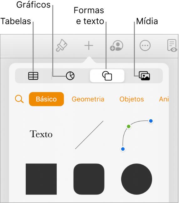 Os controles para adicionar um objeto, com botões na parte superior para selecionar tabelas, gráficos, formas (incluindo linhas e caixas de texto) e mídia.