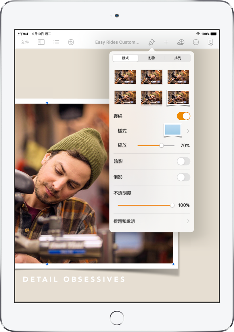用於更改所選影像大小和外觀的「格式」控制項目。控制項目的最上方分別為「樣式」、「影像」和「排列」按鈕。