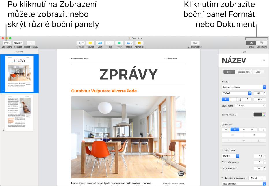 Okno Pages spopisky utlačítka nabídky Zobrazení autlačítek Formát aDokument na nástrojovém panelu. Vlevo avpravo jsou otevřeny boční panely