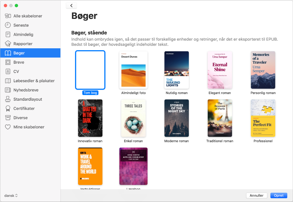 Introduktion Til Oprettelse Af En Bog I Pages Pa Mac Apple Support