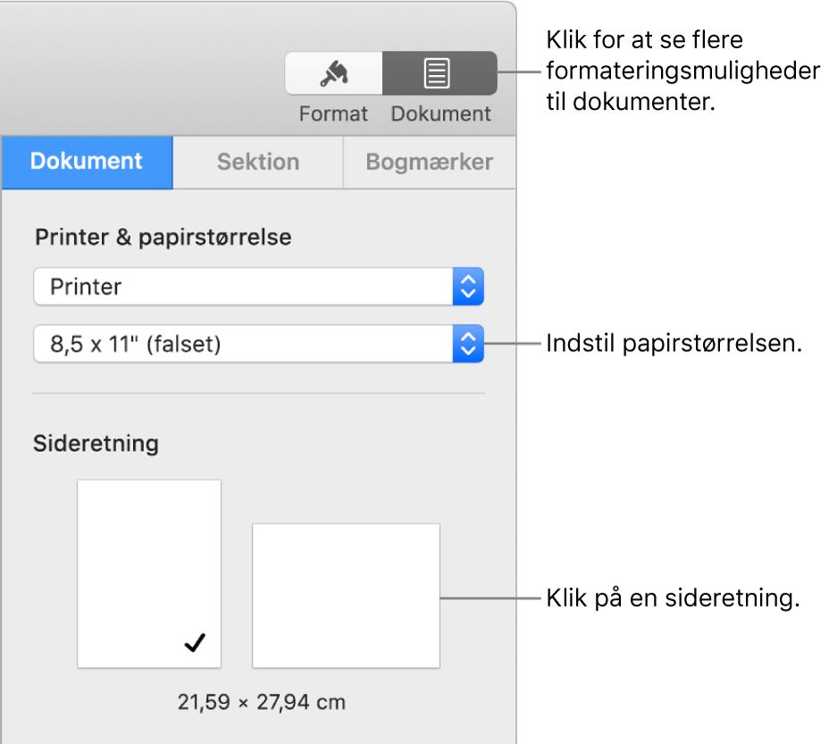 Indstil Papirstorrelse Og Retning I Pages Pa Mac Apple Support