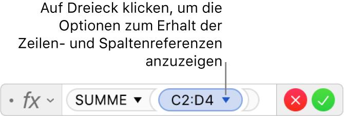 Der Formeleditor, der zeigt, wie die Zeile und Spalte einer Bereichsreferenz erhalten bleibt