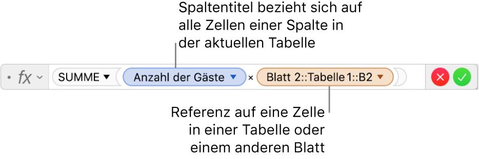 Der Formeleditor mit einer Formel, die sich auf eine Spalte in einer Tabelle und eine Zelle in einer anderen Tabelle bezieht