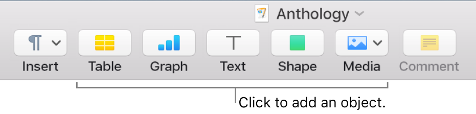 The toolbar with buttons for adding tables, graphs, text, shapes and media.