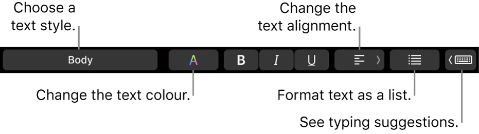 The MacBook Pro Touch Bar with controls for choosing a text style, changing the text colour, changing the text alignment, formatting text as a list, and showing typing suggestions.