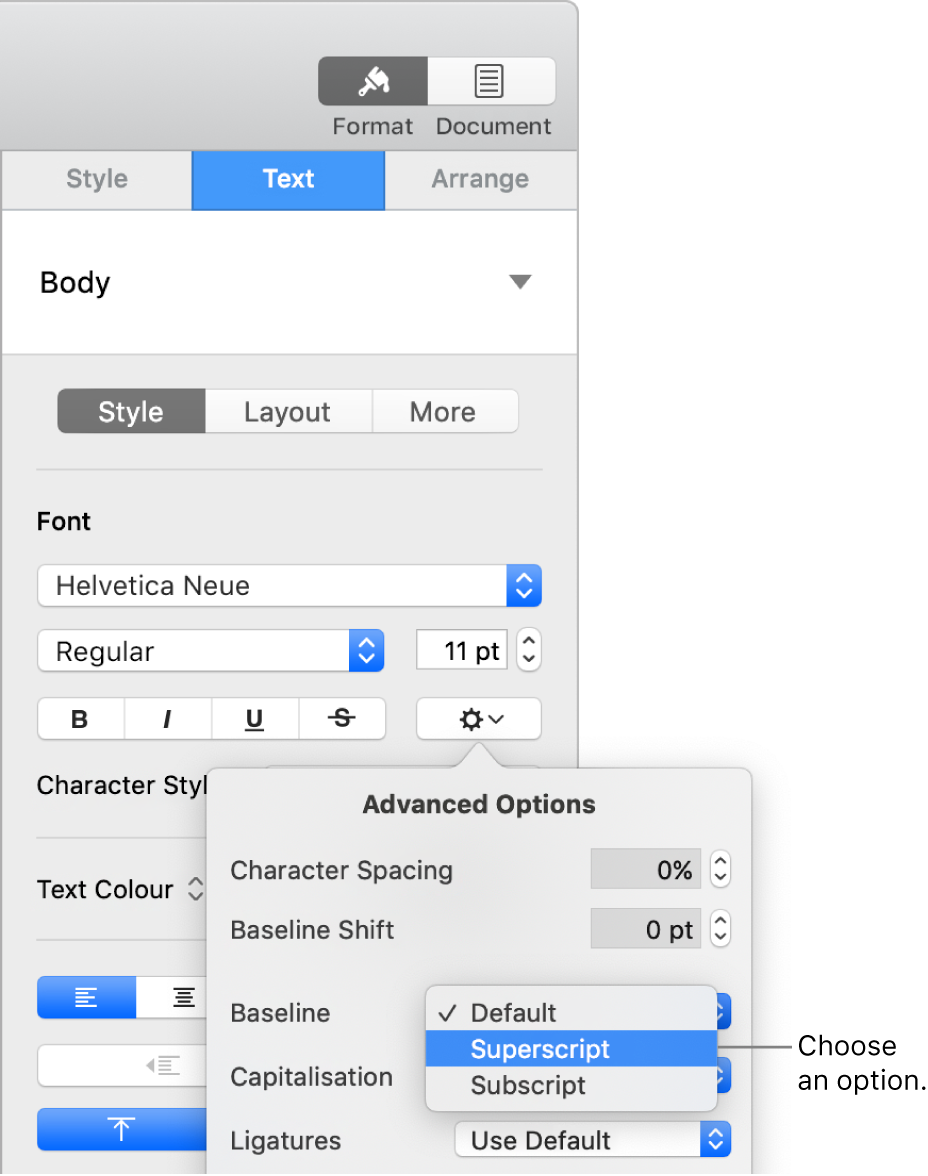 The Advanced Options menu with the Baseline pop-up menu open and showing Default, Superscript and Subscript menu items.