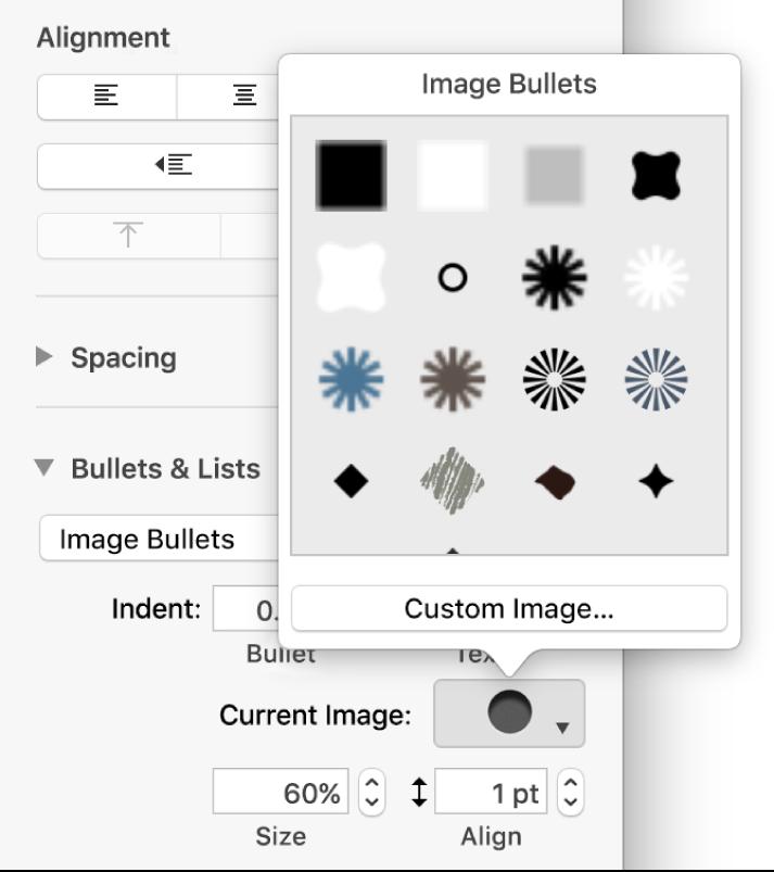 The Image Bullets pop-up menu.