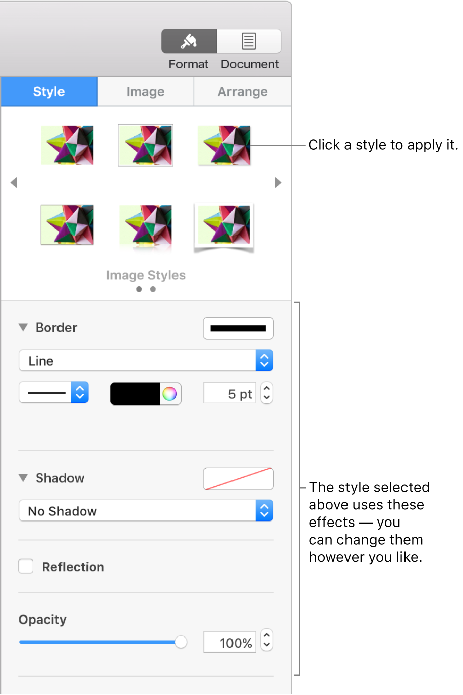 The Style tab of the Format sidebar showing object style options.