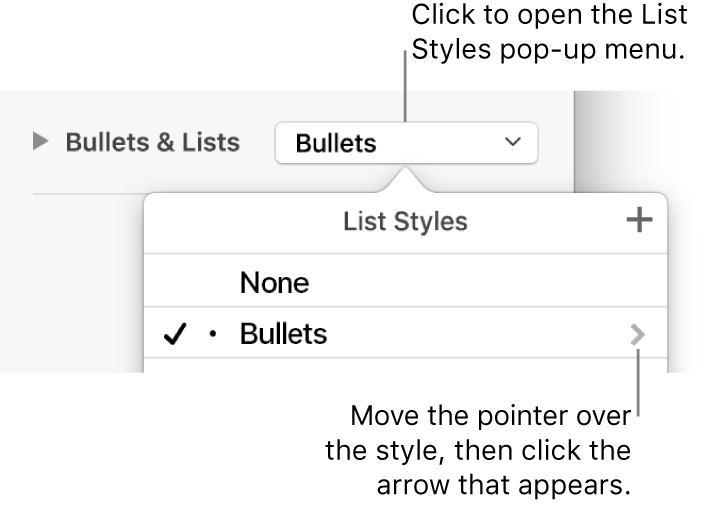 The List Styles pop-up menu with one style selected and an arrow to its far right.