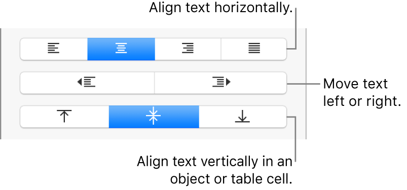 The Alignment section of the Format inspector with buttons for aligning text horizontally and vertically and buttons to move text left or right.
